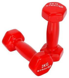 Strauss Vinyl Dumbbell, 4 kg (Pair), 2 kg Each, (Red)