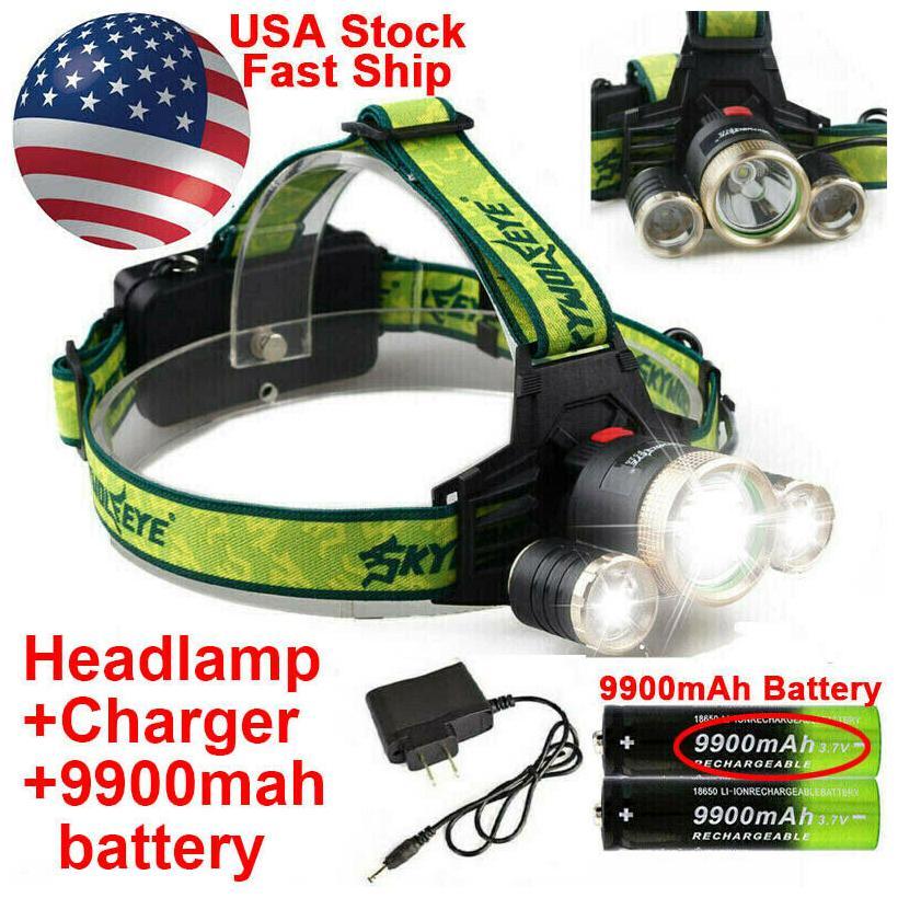 100000LM Rechargeable 5xT6 LED Headlamp Headlight Flashlight Head Torch Battery