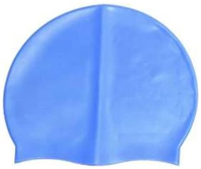 Swimming Cap with Extra Fins to Protect your Ears from Water-100% Long Life Silicone Material,Extremely Elastic,Comfortable and Easy to Wear-Free Size for All Age Group (blue)