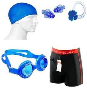 Swimming Kit (Silicon Cap, Silicon Ear Plug, Swimming Nose Clip, Swimming Goggles  Authentic Men Adult Swim Trunks Boxer Nylon) Swimming Kit