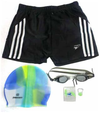Syndicate Sports Swim Short With Swimming Kit-Black And White (Size-XL