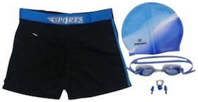 Syndicate Sports Combo of Goggles And Nose Plugs With Swim Shorts Pant-Black