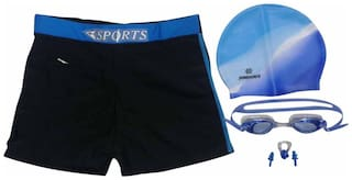 Syndicate Sports Combo of Goggles And Nose Plugs With Swim Shorts Pant-Black (Size-M)