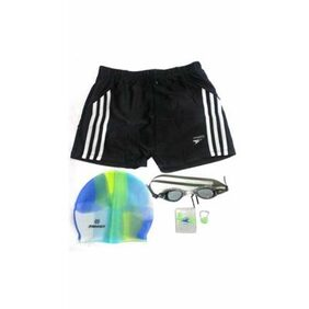 Syndicate Sports Swim Short With Swimming Kit-Black And White