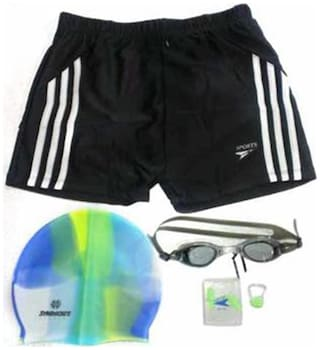 Syndicate Sports Swim Short With Swimming Kit-Black And White (Size-XL)