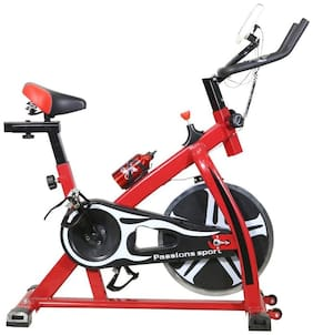 TELEbrands-HBN Fitness Spin Bike (RED); Exercise Cycle For Home Gym; 8 kg Flywheel; Indoor Cycle; Trainer Fitness