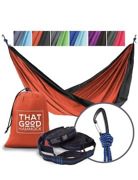 THAT GOOD HAMMOCK Double Camping Hammock w/ Straps & Wiregate Carabiners (blue)