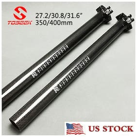"TOSEEK Carbon Fiber Bright Glossy MTB Bike Seatpost  27.2/30.8/31.6"" 350/400mm"