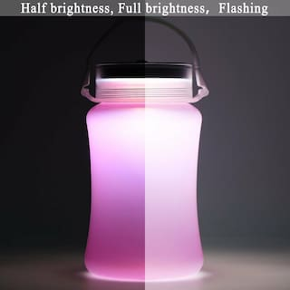 Travel Water Bottle Solar Camping Lantern Waterproof Folding Silicone Bottle BP