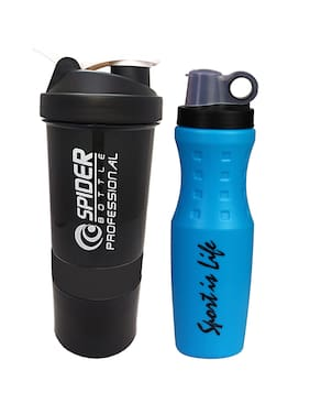 True Indian Special Combo Pack Buy 1 get 1 Free Sport Shaker and Sipper Bottle/Protein Shaker/Gym and Water Bottle Shaker (Pack of 1) (Black)