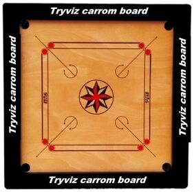 Tryviz 26 inch Wooden Carrom with Striker+powders+wooden carrom coins