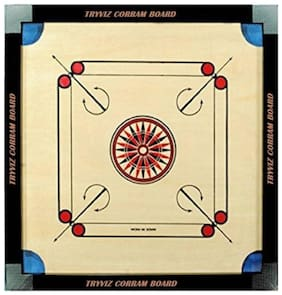 Tryviz 32 * 32 inch Sports High Wood Carrom Board Game With Coins Set+striker+powder 32 inch Carrom Board (Brown)