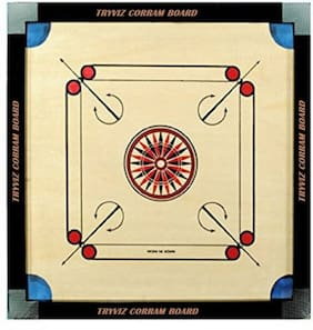 Tryviz Kids Carrom Board Small size Fun Board Game Best Family Game, Birthday Gifts for Boys and Girls, 43x43cm playing area ( *2 STRICKERS *)