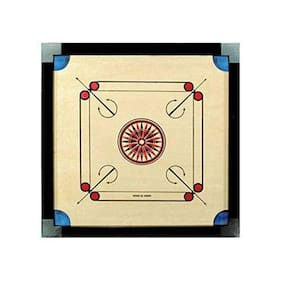 Tryviz Wooden Finish 26 Inch Medium Size Carrom Board for Kids and Children with Coins Striker and Powder, Brown (Medium Size)
