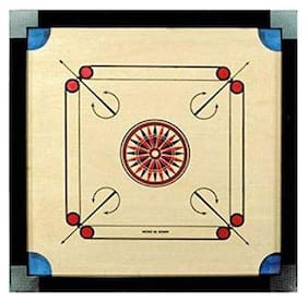 Tryviz Wooden Finish 20 Inch Medium Size Carrom Board With Transparent Crystal for Kids and Children with Coins Striker and Powder, Brown (Small Size)