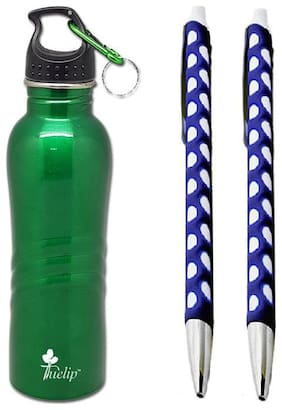 Tuelip Combo Of  Stainless Steel Sports Water Bottle For Sports, Gym, Hiking, College, Office 750ml With Free 2 Webbing Circle Grip Ball Pen