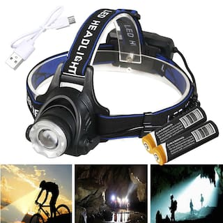 Ultra Bright T6 LED Zoomable Headlamp 18650 USB Rechargeable Headlight Head Lamp