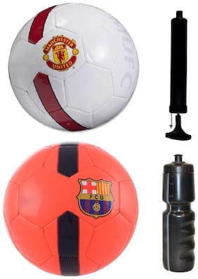 UTD White/Red + Barca Orange Football (Size-5) with Air Pump & Sipper