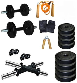 VIGOURZONE 15 kg ADJUSTABLE DUMBELLS SET WITH ACCESSORIES