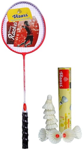 Vizorr 1015 Badminton combo & Aerotic 005 Shuttle cock Feather (10pcs)