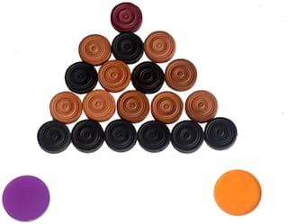 Vizorr Anti-Break WOODEN CARROM COINS Carrom Pawns with Multicolour striker  (Pack of 19)