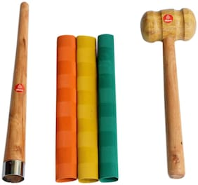 Vizorr combo of 3 Multi-colour chevron grip and wooden quality bat grip cone and stroke hammer