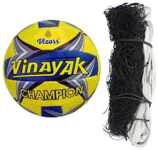 Vizorr Combo of Vinayak Volleyball and Nylon Volleyball Net (Pack of 1 net and 1 Volleyball)