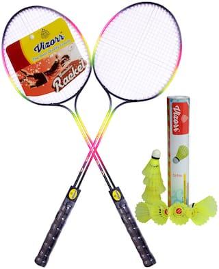 Vizorr Combo of Racer Double Shaft Multicolor Unstrung Badminton Racquet + Aerotic-006 Shuttle cock Nylon shuttle (Fast,79 ,10 pcs.)