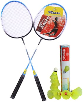 Vizorr Combo of  2029 Badminton Multicolor Strung Badminton Racquet  (G4 - 3.25 inch, 310 g) and Aerotic-006 Nylon Shuttle cock (10 pcs.)