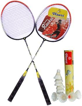 Vizorr Combo of  2028 Badminton Multicolor Strung Badminton Racquet  (G4 - 3.25 inch, 310 g) and Aerotic-005 Feather Shuttle cock (10 pcs.)