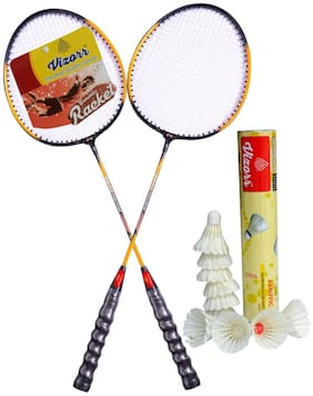 Vizorr Combo of 20-20 Professional multicolor badminton racquet and Aerotic 005 Feather Shuttle cock (Fast,79,10pcs)