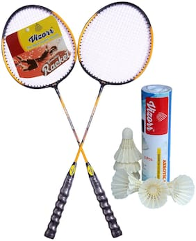 Vizorr Combo of 20-20 Professional Badminton Racket Multicolor Badminton Racquet & Aerotic-001 Shuttle cock feather shuttle (Fast,79 ,6 pcs.)