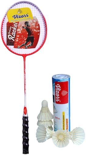 Vizorr Combo of KK-1015 Badminton Racqet (Aluminium) Silver Strung Badminton Racquet and Aerotic-001 Shuttle cock feather shuttle (Fast,79 ,6 pcs.)