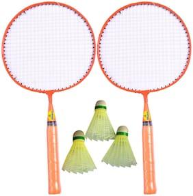 Vizorr Kids Racquet set with three Plastic Multicolour Shuttles Strung Badminton Racquet  (G4 - 3.25 inch, 350 g)