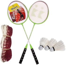 Vizorr LYF Badminton Racquet and 3 Feather Shuttlecock and Badminton Net  (Pack of 2 Racquet and 3 shuttlecock and Net )