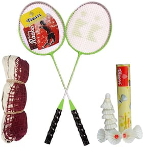 Vizorr LYF Badminton Racquet and Aerotic-005 Feather Shuttlecock and Badminton Net (Pack of 2 Racquet and 10 shuttlecock and net)
