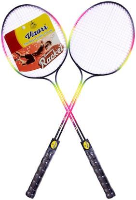 Vizorr - Racer Double Shaft Multicolor Unstrung Badminton Racquet  (G3 - 3.5 inch, 300 g)