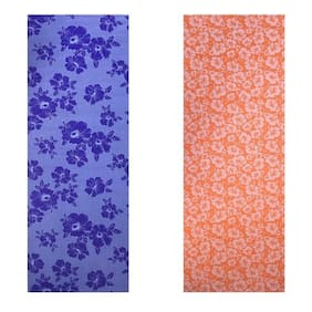 Vritraz  Printed, Extra Thick 6mm, 182.88 cm (72 inch)x60.96 cm (24 inch) Long, Premium Eco Safe, Non Slip Yoga Mat With Free Carry Bag BlueFlower-OrangeFlower (Pack of 2)