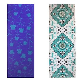 Vritraz  Printed, Extra Thick 6mm, 182.88 cm (72 inch)x60.96 cm (24 inch) Long, Premium Eco Safe, Non Slip Yoga Mat With Free Carry Bag BlueLotus-Rhombus (Pack of 2)