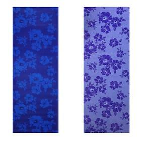 Vritraz  Printed, Extra Thick 6mm, 182.88 cm (72 inch)x60.96 cm (24 inch) Long, Premium Eco Safe, Non Slip Yoga Mat With Free Carry Bag BlueDark-BlueFlower (Pack of 2)