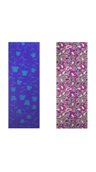 Vritraz  Printed, Extra Thick 6mm, 182.88 cm (72 inch)x60.96 cm (24 inch) Long, Premium Eco Safe, Non Slip Yoga Mat With Free Carry Bag BlueLotus-WaterDrop (Pack of 2)