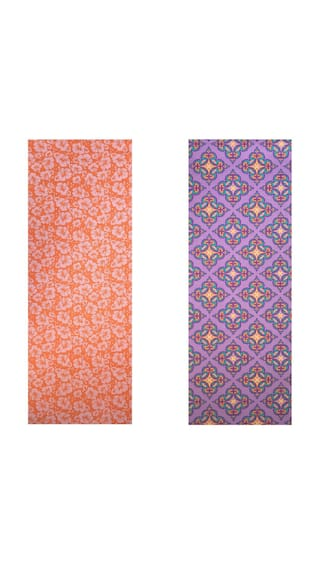Vritraz  Printed, Extra Thick 6mm, 182.88 cm (72 inch)x60.96 cm (24 inch) Long, Premium Eco Safe, Non Slip Yoga Mat With Free Carry Bag OrangeFlower-PurplePattern (Pack of 2)