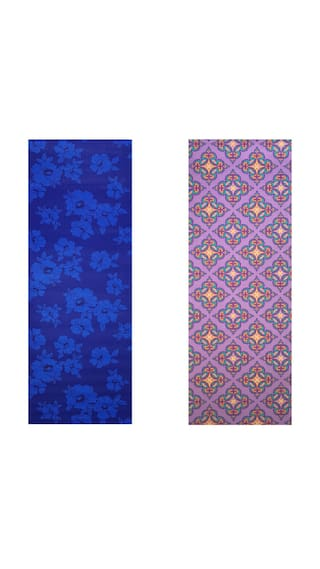 Vritraz  Printed, Extra Thick 6mm, 182.88 cm (72 inch)x60.96 cm (24 inch) Long, Premium Eco Safe, Non Slip Yoga Mat With Free Carry Bag BlueDark-PurplePattern (Pack of 2)