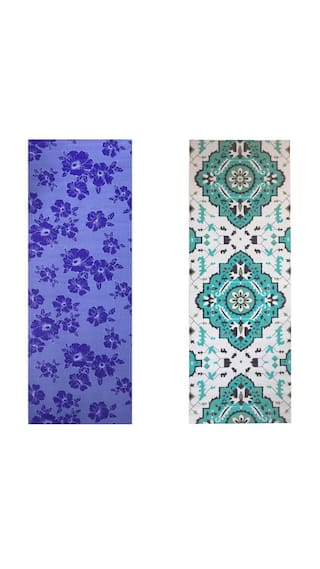 Vritraz  Printed, Extra Thick 6mm, 182.88 cm (72 inch)x60.96 cm (24 inch) Long, Premium Eco Safe, Non Slip Yoga Mat With Free Carry Bag BlueFlower-Rhombus (Pack of 2)
