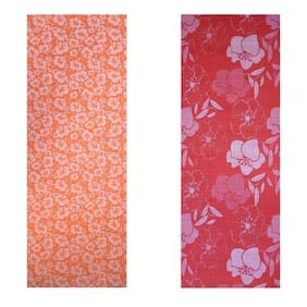 Vritraz  Printed, Extra Thick 6mm, 182.88 cm (72 inch)x60.96 cm (24 inch) Long, Premium Eco Safe, Non Slip Yoga Mat With Free Carry Bag OrangeFlower-RedFlower (Pack of 2)