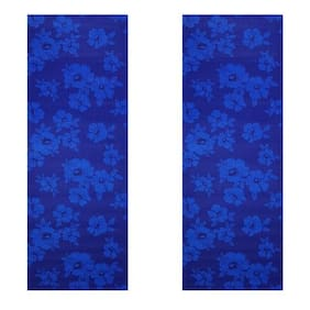 Vritraz  Printed, Extra Thick 6mm, 182.88 cm (72 inch)x60.96 cm (24 inch) Long, Premium Eco Safe, Non Slip Yoga Mat With Free Carry Bag BlueDark-BlueDark (Pack of 2)