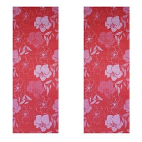 Vritraz  Printed, Extra Thick 6mm, 182.88 cm (72 inch)x60.96 cm (24 inch) Long, Premium Eco Safe, Non Slip Yoga Mat With Free Carry Bag RedFlower-RedFlower (Pack of 2)