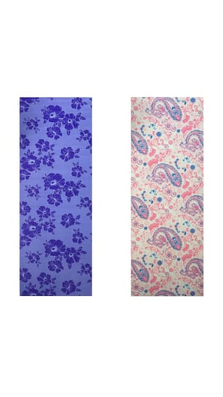 Vritraz  Printed, Extra Thick 6mm, 182.88 cm (72 inch)x60.96 cm (24 inch) Long, Premium Eco Safe, Non Slip Yoga Mat With Free Carry Bag BlueFlower-PinkPattern (Pack of 2)