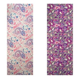 Vritraz  Printed, Extra Thick 6mm, 182.88 cm (72 inch)x60.96 cm (24 inch) Long, Premium Eco Safe, Non Slip Yoga Mat With Free Carry Bag PinkPattern-WaterDrop (Pack of 2)