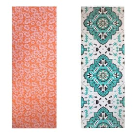 Vritraz  Printed, Extra Thick 6mm, 182.88 cm (72 inch)x60.96 cm (24 inch) Long, Premium Eco Safe, Non Slip Yoga Mat With Free Carry Bag OrangeFlower-Rhombus (Pack of 2)